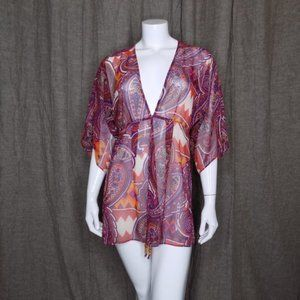 Cabi Sheer Top Drawstring Beach Cover Up Size S